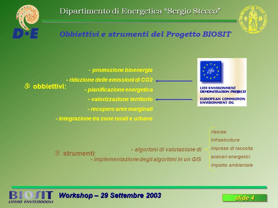 Dipartimento di Energetica Sergio Stecco Workshop – 29 Settembre 2003 slide 4 Obbiettivi e strumenti del Progetto BIOSIT \ obbiettivi: - promozione bioenergia - riduzione delle emissioni di CO2 - pianificazione energetica - valorizzazione territorio - recupero aree marginali - integrazione tra zone rurali e urbane \ strumenti : risorse infrastrutture imprese di raccolta scenari energetici impatto ambientale - algoritmi di valutazione di - implementazione degli algoritmi in un GIS