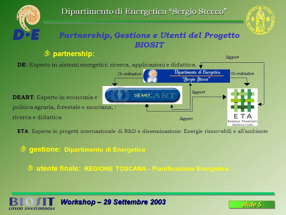 Dipartimento di Energetica Sergio Stecco Workshop – 29 Settembre 2003 slide 5 \ gestione: Dipartimento di Energetica Partnership, Gestione e Utenti del Progetto BIOSIT \ partnership: \ utente finale: REGIONE TOSCANA - Pianificazione Energetica DE : Esperto in sistemi energetici: ricerca, applicazioni e didattica.