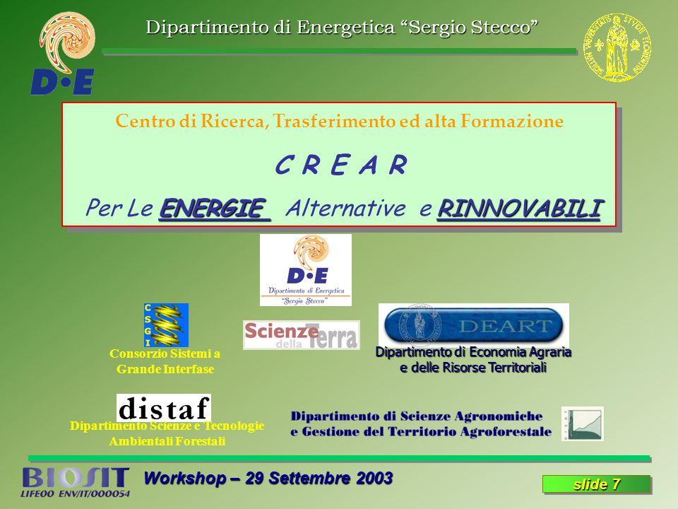 Dipartimento di Energetica Sergio Stecco Workshop – 29 Settembre 2003 slide 7 Centro di Ricerca, Trasferimento ed alta Formazione C R E A R ENERGIE RINNOVABILI Per Le ENERGIE Alternative e RINNOVABILI Centro di Ricerca, Trasferimento ed alta Formazione C R E A R ENERGIE RINNOVABILI Per Le ENERGIE Alternative e RINNOVABILI Consorzio Sistemi a Grande Interfase Dipartimento Scienze e Tecnologie Ambientali Forestali Dipartimento di Economia Agraria e delle Risorse Territoriali