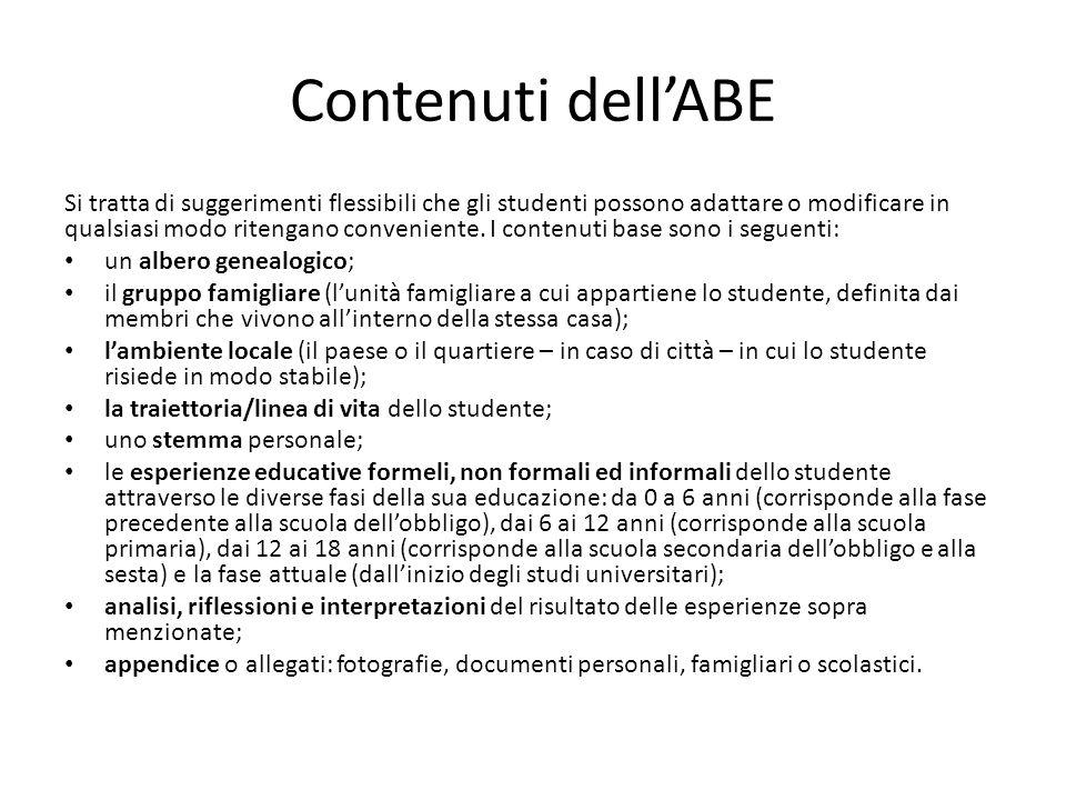 Contenuti dellABE Si tratta di suggerimenti flessibili che gli studenti possono adattare o modificare in qualsiasi modo ritengano conveniente. I conte