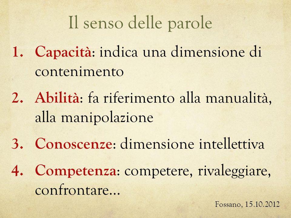Il senso delle parole Fossano, 15.10.2012 1. Capacità : indica una dimensione di contenimento 2.