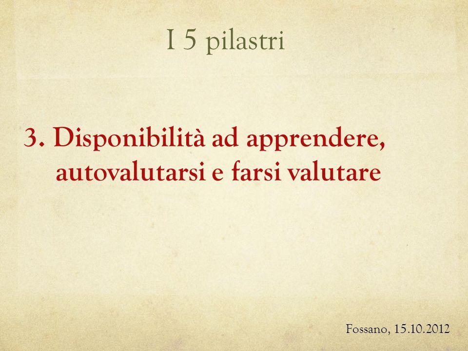 I 5 pilastri Fossano, 15.10.2012 3. Disponibilità ad apprendere, autovalutarsi e farsi valutare