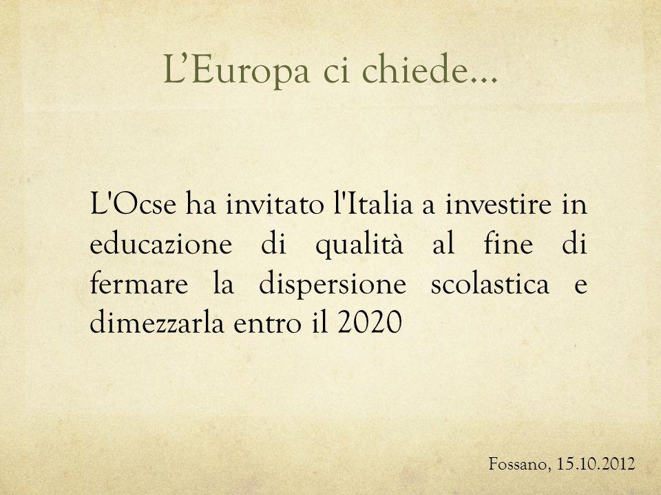 LEuropa ci chiede… L Ocse ha invitato l Italia a investire in educazione di qualità al fine di fermare la dispersione scolastica e dimezzarla entro il 2020 Fossano, 15.10.2012