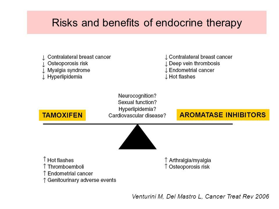 Risks and benefits of endocrine therapy Venturini M, Del Mastro L, Cancer Treat Rev 2006 TAMOXIFEN AROMATASE INHIBITORS