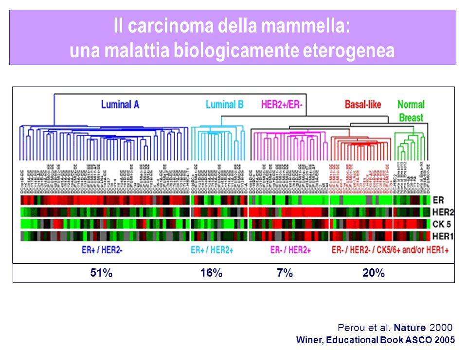 Il carcinoma della mammella: una malattia biologicamente eterogenea Perou et al. Nature 2000 51% 16% 7% 20% Winer, Educational Book ASCO 2005