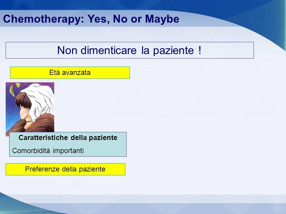 Non dimenticare la paziente ! Età avanzata Caratteristiche della paziente Comorbidità importanti Chemotherapy: Yes, No or Maybe Preferenze della pazie