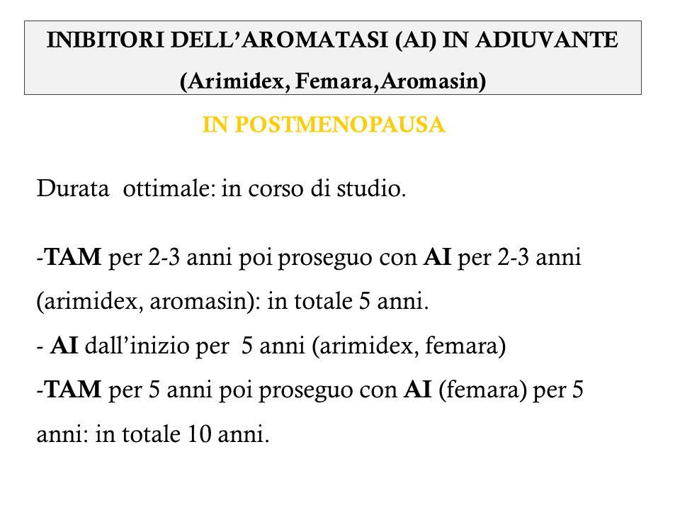 Durata ottimale: in corso di studio. - TAM per 2-3 anni poi proseguo con AI per 2-3 anni (arimidex, aromasin): in totale 5 anni. - AI dallinizio per 5