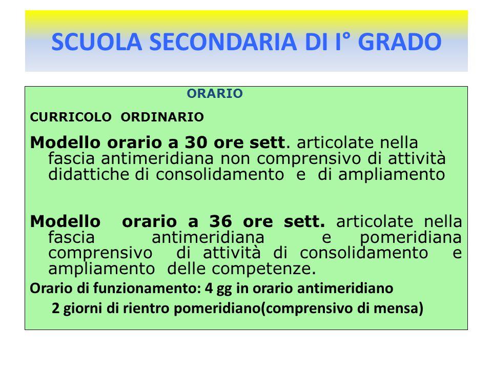 SCUOLA SECONDARIA DI I° GRADO ORARIO CURRICOLO ORDINARIO Modello orario a 30 ore sett.