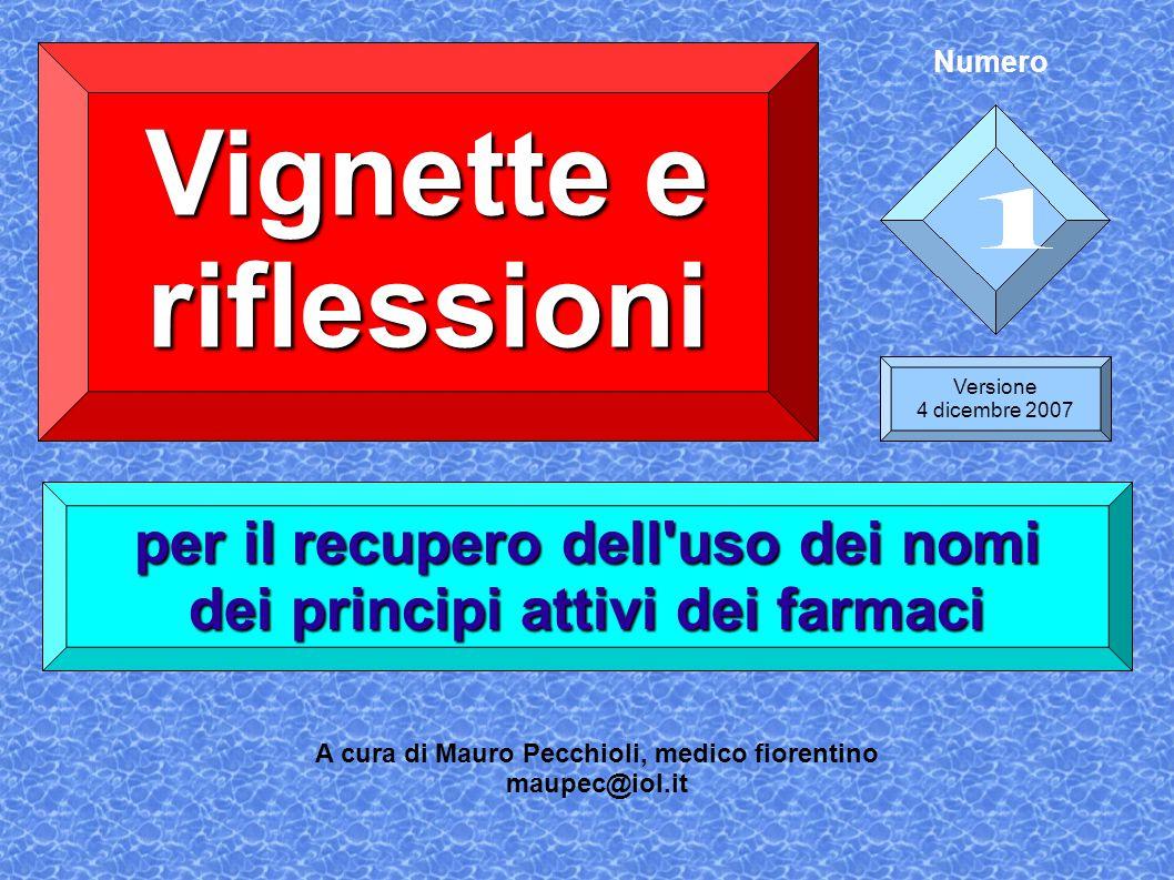 Vignette e riflessioni per il recupero dell'uso dei nomi dei principi attivi dei farmaci Versione 4 dicembre 2007 A cura di Mauro Pecchioli, medico fi