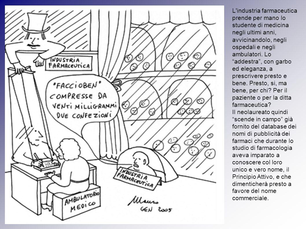 L'industria farmaceutica prende per mano lo studente di medicina negli ultimi anni, avvicinandolo, negli ospedali e negli ambulatori. Lo addestra, con