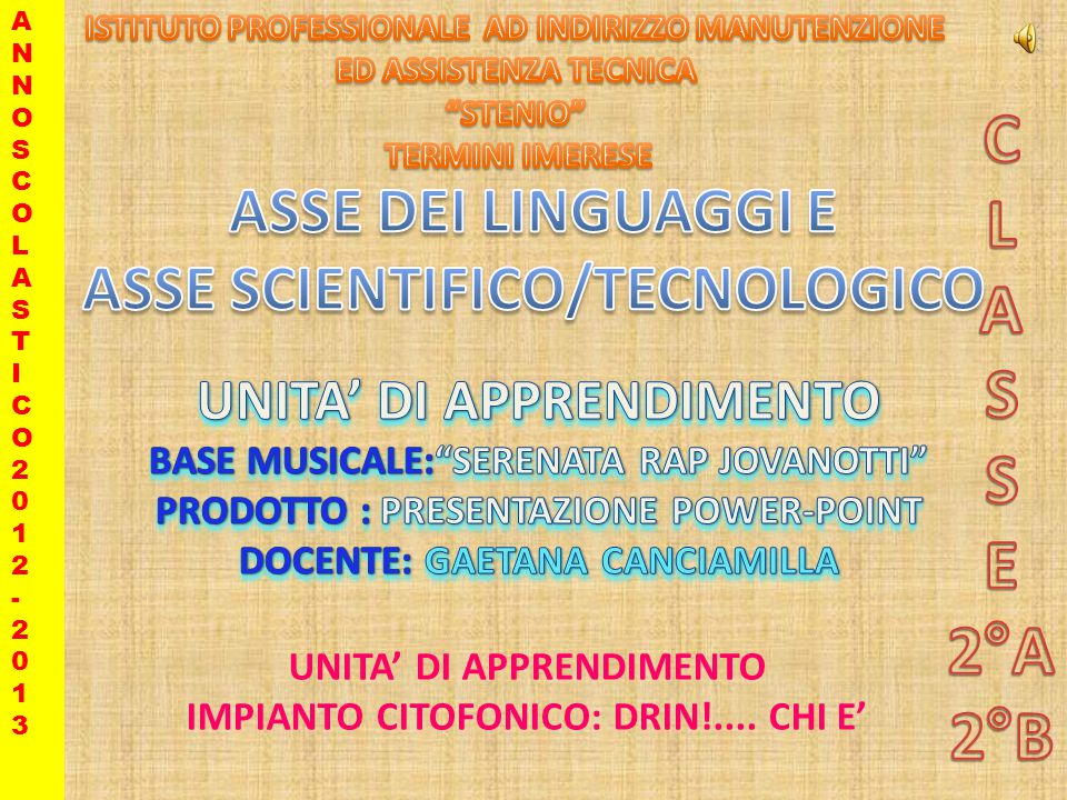 UNITA DI APPRENDIMENTO IMPIANTO CITOFONICO: DRIN!.... CHI E ANNOSCOLASTICO2012-2013ANNOSCOLASTICO2012-2013