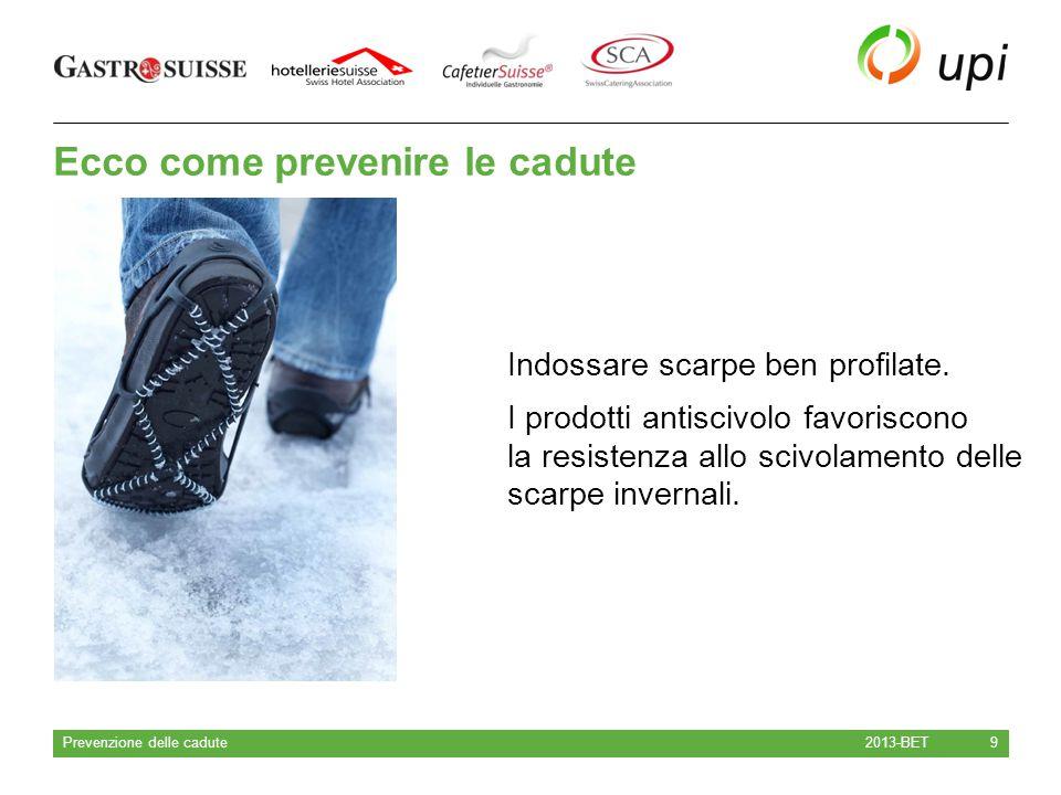 Ecco come prevenire le cadute 2013-BET Prevenzione delle cadute 9 Indossare scarpe ben profilate. I prodotti antiscivolo favoriscono la resistenza all