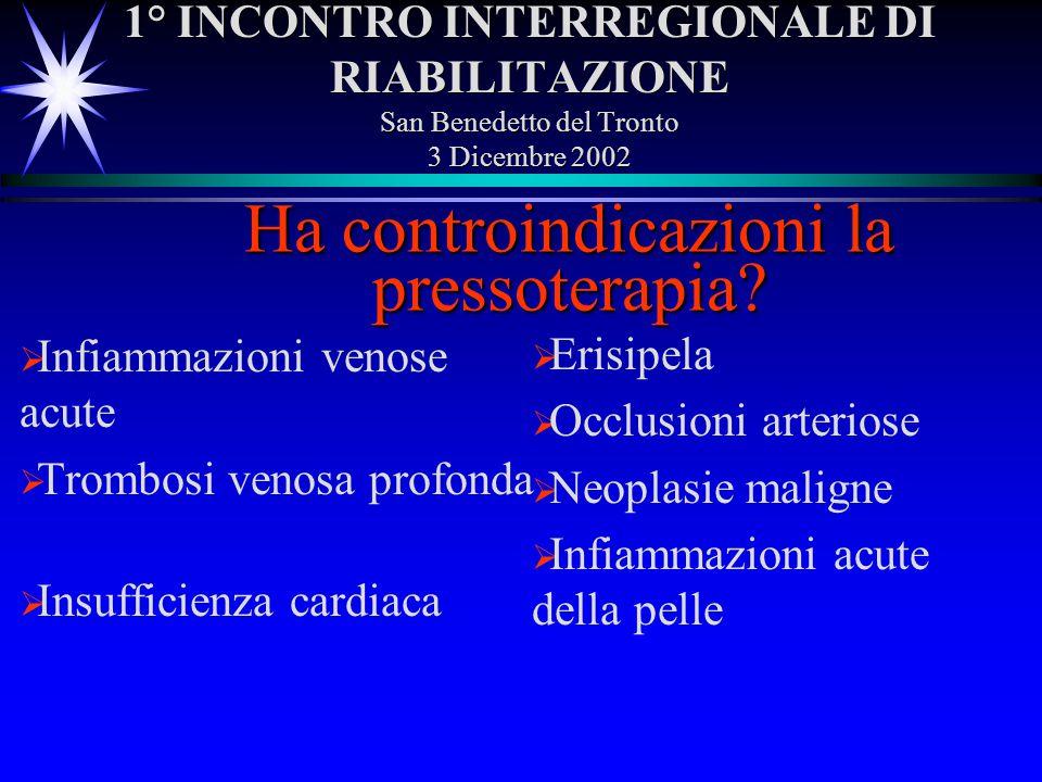 1° INCONTRO INTERREGIONALE DI RIABILITAZIONE San Benedetto del Tronto 3 Dicembre 2002 Infiammazioni venose acute Trombosi venosa profonda Insufficienz