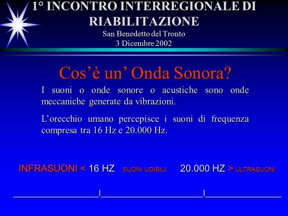 1° INCONTRO INTERREGIONALE DI RIABILITAZIONE San Benedetto del Tronto 3 Dicembre 2002 I suoni o onde sonore o acustiche sono onde meccaniche generate