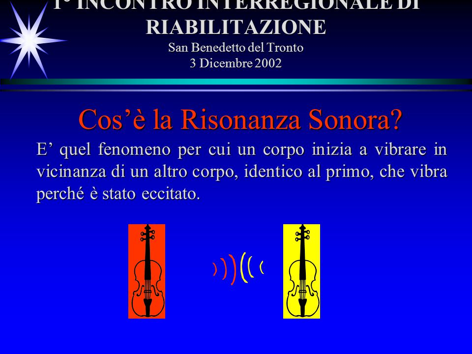 1° INCONTRO INTERREGIONALE DI RIABILITAZIONE San Benedetto del Tronto 3 Dicembre 2002 E quel fenomeno per cui un corpo inizia a vibrare in vicinanza d