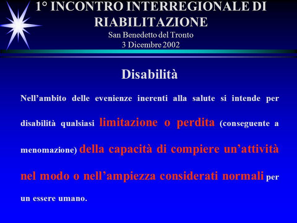 1° INCONTRO INTERREGIONALE DI RIABILITAZIONE San Benedetto del Tronto 3 Dicembre 2002 Disabilità Nellambito delle evenienze inerenti alla salute si in