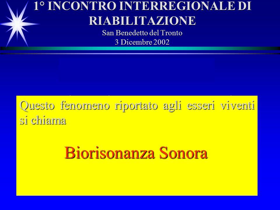 1° INCONTRO INTERREGIONALE DI RIABILITAZIONE San Benedetto del Tronto 3 Dicembre 2002 Risonanza Sonora Se una corda o unaltra sorgente sonora caratter