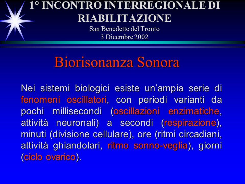 1° INCONTRO INTERREGIONALE DI RIABILITAZIONE San Benedetto del Tronto 3 Dicembre 2002 Biorisonanza Sonora Nei sistemi biologici esiste unampia serie d