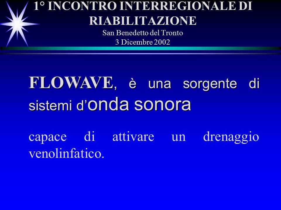 1° INCONTRO INTERREGIONALE DI RIABILITAZIONE San Benedetto del Tronto 3 Dicembre 2002 FLOWAVE, è una sorgente di sistemi d onda sonora capace di attiv