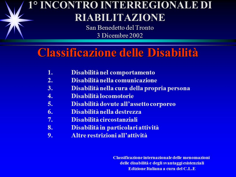 1° INCONTRO INTERREGIONALE DI RIABILITAZIONE San Benedetto del Tronto 3 Dicembre 2002 Classificazione delle Disabilità 1.Disabilità nel comportamento