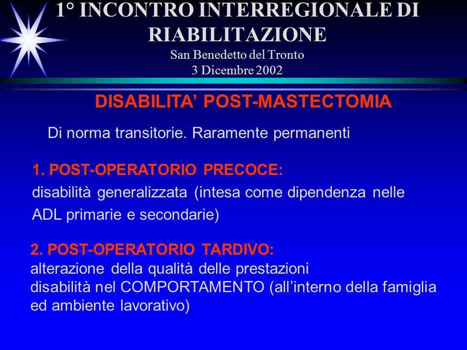 1° INCONTRO INTERREGIONALE DI RIABILITAZIONE San Benedetto del Tronto 3 Dicembre 2002 DISABILITA POST-MASTECTOMIA Di norma transitorie. Raramente perm
