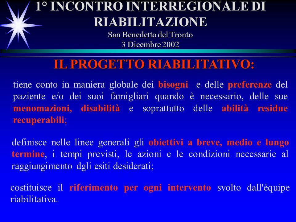 1° INCONTRO INTERREGIONALE DI RIABILITAZIONE San Benedetto del Tronto 3 Dicembre 2002 IL PROGETTO RIABILITATIVO: tiene conto in maniera globale dei bi