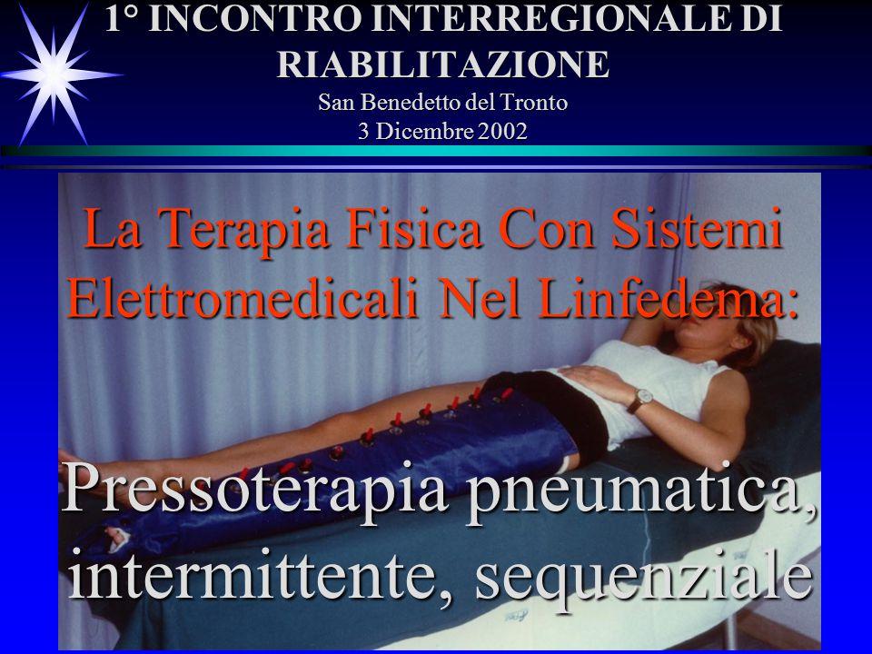 1° INCONTRO INTERREGIONALE DI RIABILITAZIONE San Benedetto del Tronto 3 Dicembre 2002 La Terapia Fisica Con Sistemi Elettromedicali Nel Linfedema: Pre