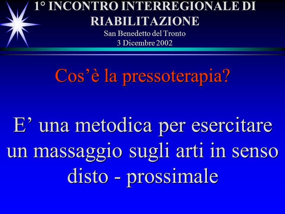 1° INCONTRO INTERREGIONALE DI RIABILITAZIONE San Benedetto del Tronto 3 Dicembre 2002 E una metodica per esercitare un massaggio sugli arti in senso d