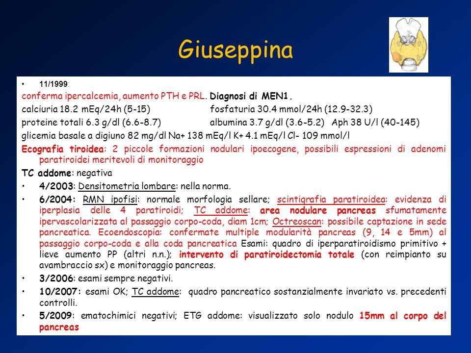 11/1999: conferma ipercalcemia, aumento PTH e PRL.
