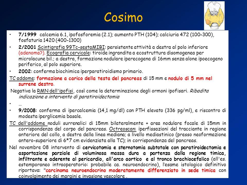 7/1999 calcemia 6.1, ipofosforemia (2.1); aumento PTH (104); calciuria 472 (100-300), fosfaturia 1420 (400-1300) 2/2001 Scintigrafia 99Tc-sestaMIBI: persistente attività a destra al polo inferiore (adenoma?).