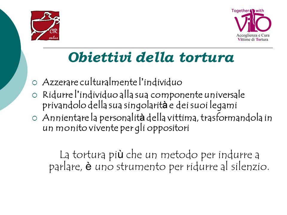 Dimensione del fenomeno della tortura La tortura è attualmente praticata in 102 Paesi Tra il 20 e il 25% dei richiedenti asilo nel mondo ha subito torture In Europa vivono attualmente circa 400.000 rifugiati sopravvissuti a tortura Solo 16.000 di essi hanno potuto avvalersi di cure e trattamenti riabilitativi specifici
