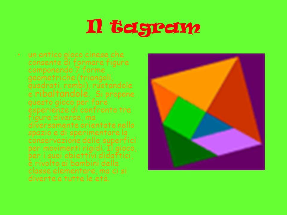Il tagram un antico gioco cinese che consente di formare figure componendo 7 forme geometriche (triangoli, quadrati, rombi), ruotandole e ribaltandole.