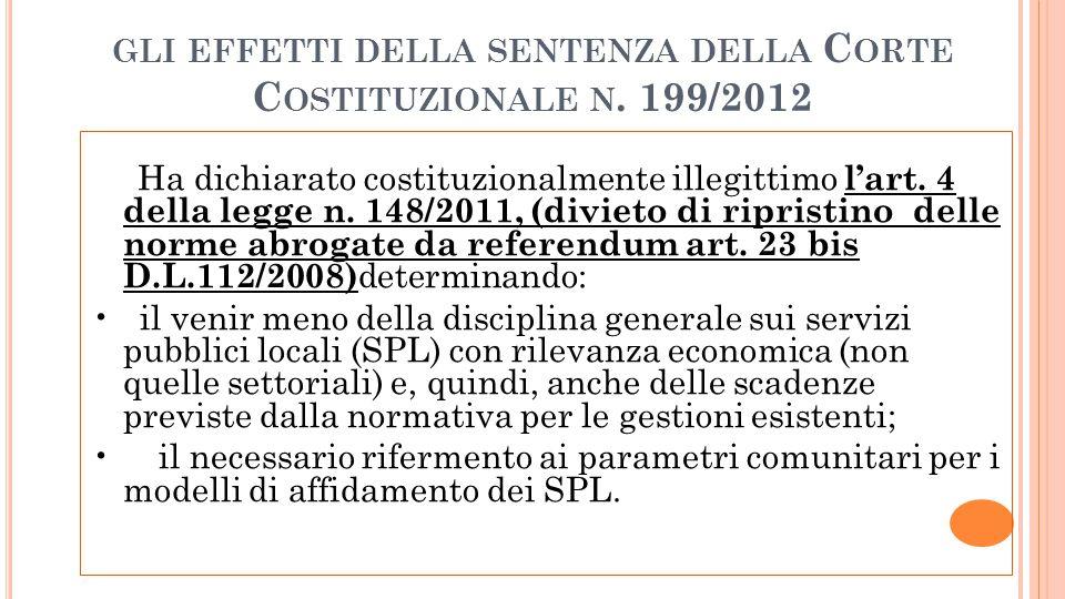 GLI EFFETTI DELLA SENTENZA DELLA C ORTE C OSTITUZIONALE N. 199/2012 Ha dichiarato costituzionalmente illegittimo lart. 4 della legge n. 148/2011, (div