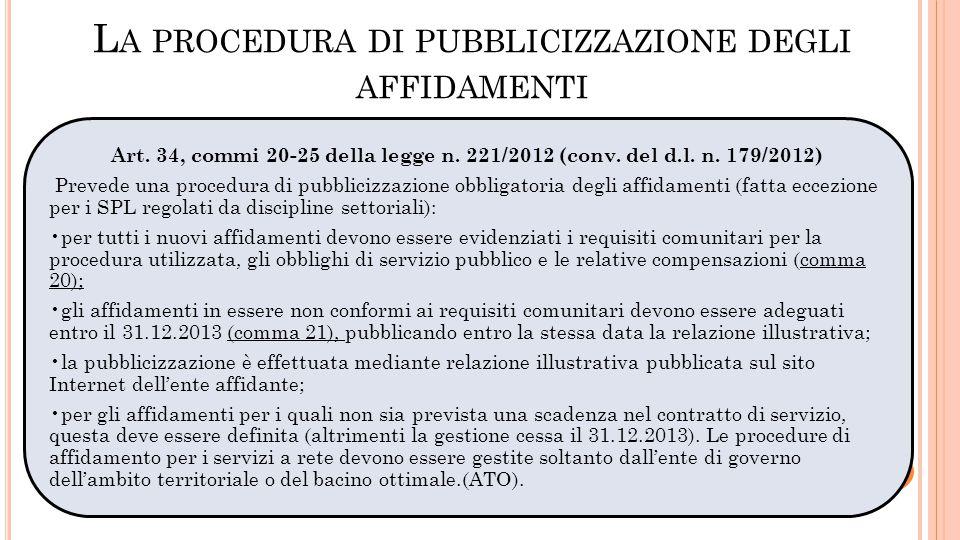 L A PROCEDURA DI PUBBLICIZZAZIONE DEGLI AFFIDAMENTI Art. 34, commi 20-25 della legge n. 221/2012 (conv. del d.l. n. 179/2012) Prevede una procedura di