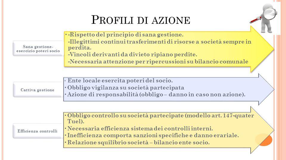 P ROFILI DI AZIONE -Rispetto del principio di sana gestione. -Illegittimi continui trasferimenti di risorse a società sempre in perdita. -Vincoli deri