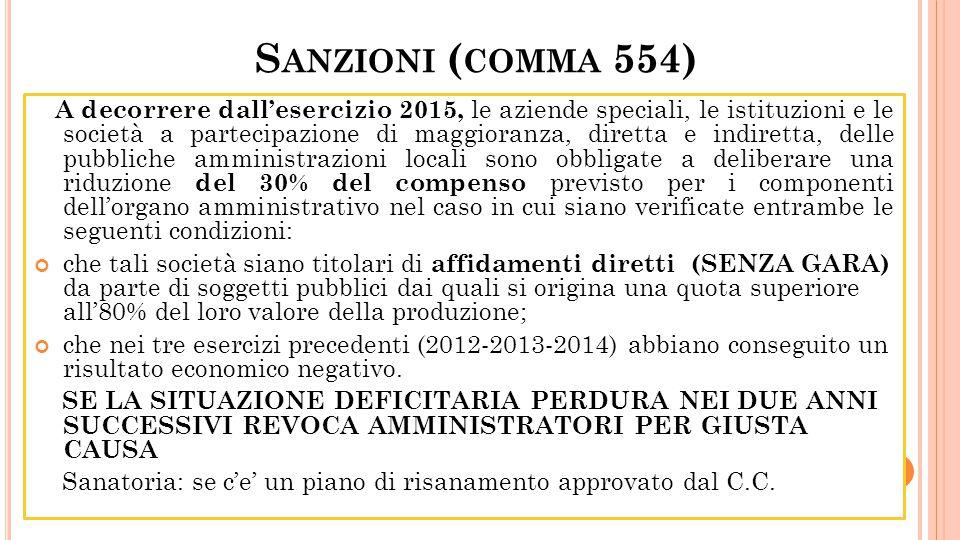 S ANZIONI ( COMMA 554) A decorrere dallesercizio 2015, le aziende speciali, le istituzioni e le società a partecipazione di maggioranza, diretta e ind