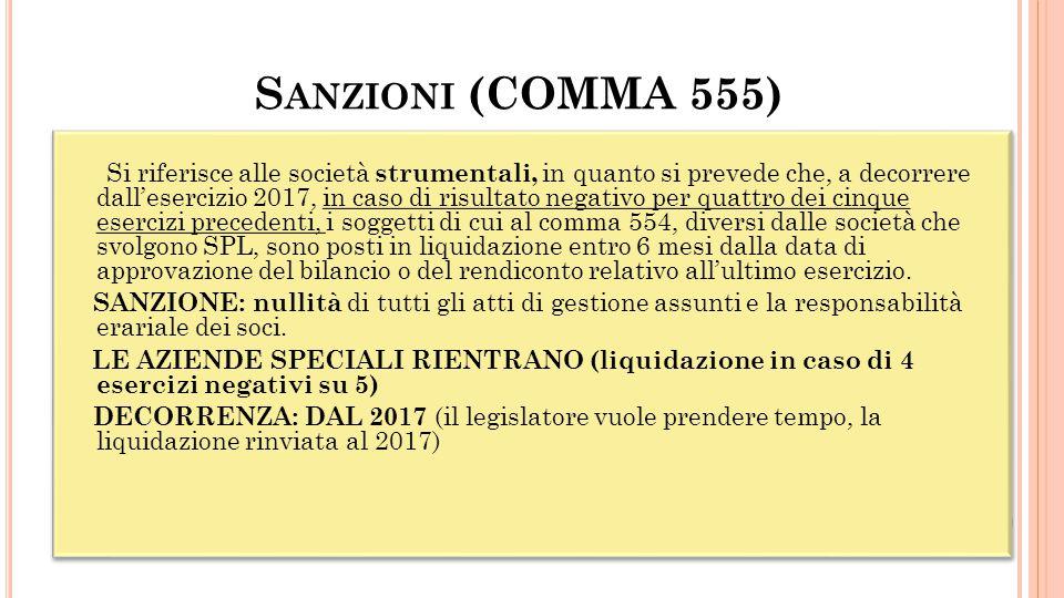 S ANZIONI (COMMA 555)