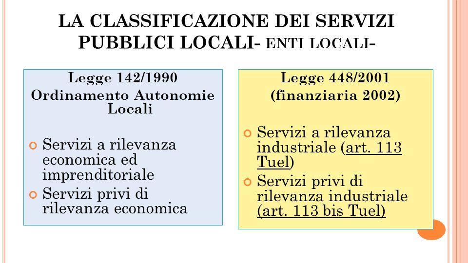 LA CLASSIFICAZIONE DEI SERVIZI PUBBLICI LOCALI- ENTI LOCALI - Legge 142/1990 Ordinamento Autonomie Locali Servizi a rilevanza economica ed imprenditor