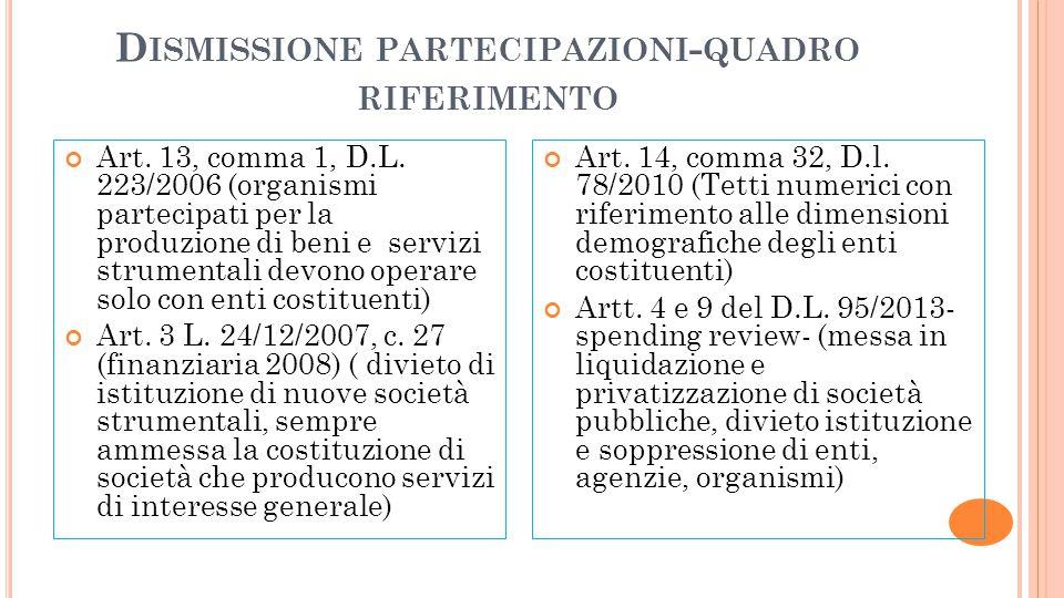 D ISMISSIONE PARTECIPAZIONI - QUADRO RIFERIMENTO Art. 13, comma 1, D.L. 223/2006 (organismi partecipati per la produzione di beni e servizi strumental