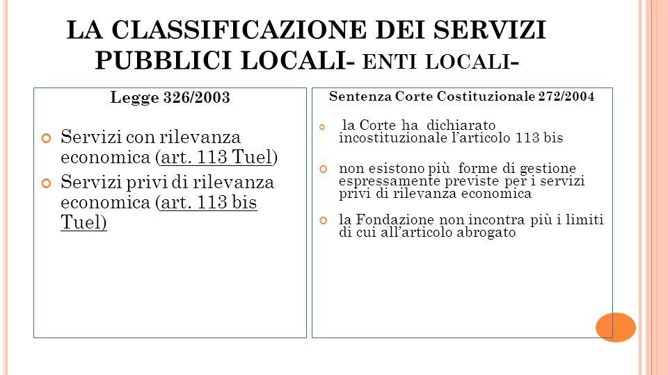 LA CLASSIFICAZIONE DEI SERVIZI PUBBLICI LOCALI- ENTI LOCALI - Legge 326/2003 Servizi con rilevanza economica (art. 113 Tuel) Servizi privi di rilevanz