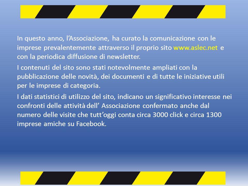 In questo anno, lAssociazione, ha curato la comunicazione con le imprese prevalentemente attraverso il proprio sito www.aslec.net e con la periodica d