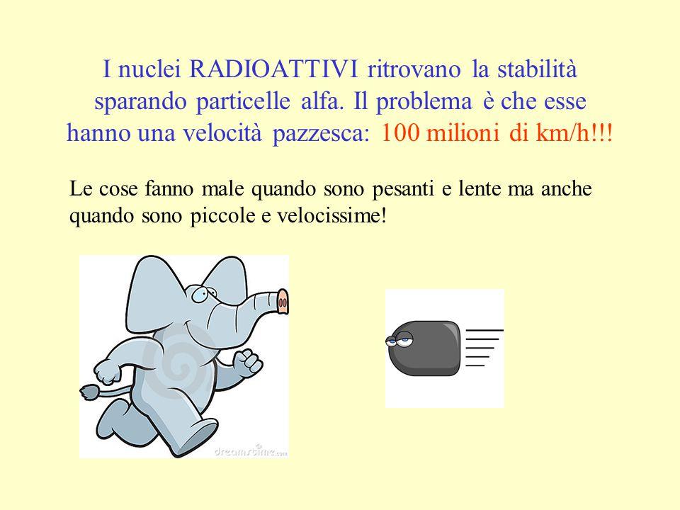 I nuclei RADIOATTIVI ritrovano la stabilità sparando particelle alfa.