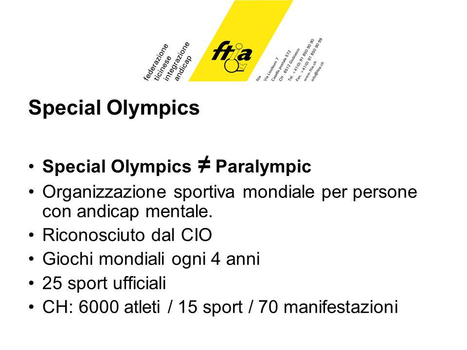 Special Olympics Special Olympics Paralympic Organizzazione sportiva mondiale per persone con andicap mentale.