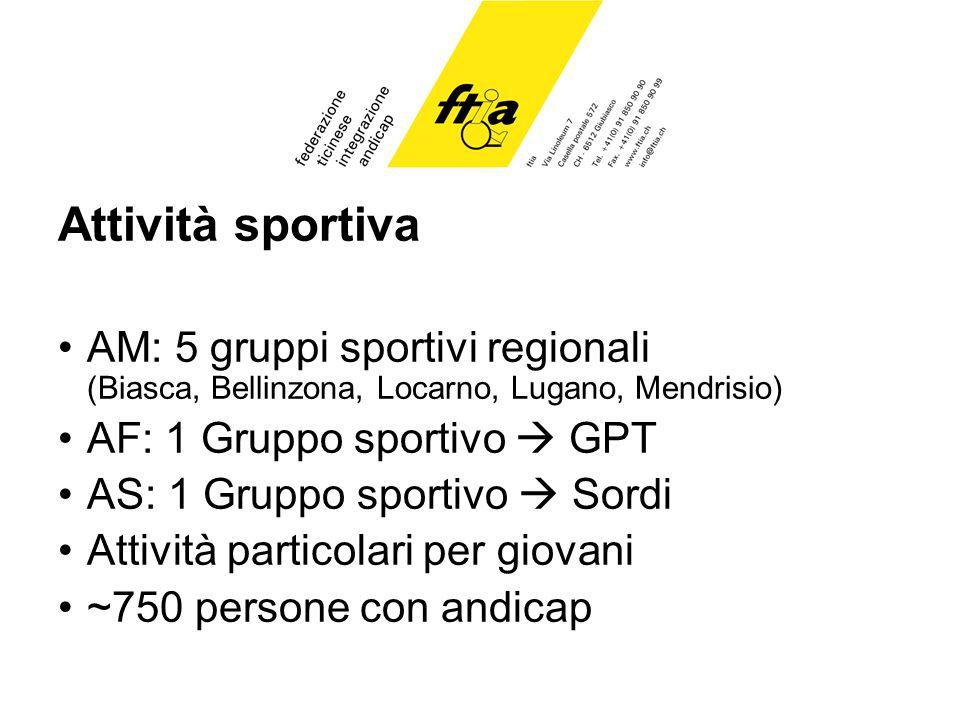 Attività sportiva AM: 5 gruppi sportivi regionali (Biasca, Bellinzona, Locarno, Lugano, Mendrisio) AF: 1 Gruppo sportivo GPT AS: 1 Gruppo sportivo Sordi Attività particolari per giovani ~750 persone con andicap