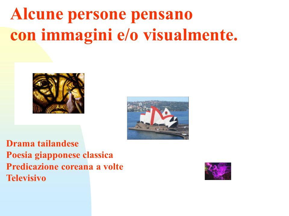 Alcune persone pensano con immagini e/o visualmente.