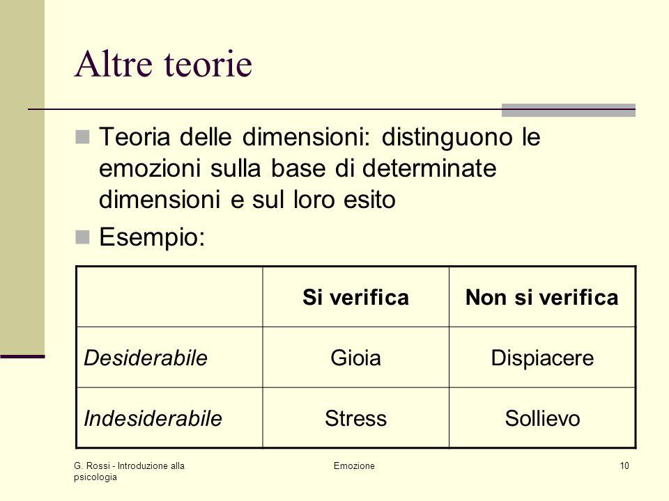 G. Rossi - Introduzione alla psicologia Emozione10 Altre teorie Teoria delle dimensioni: distinguono le emozioni sulla base di determinate dimensioni