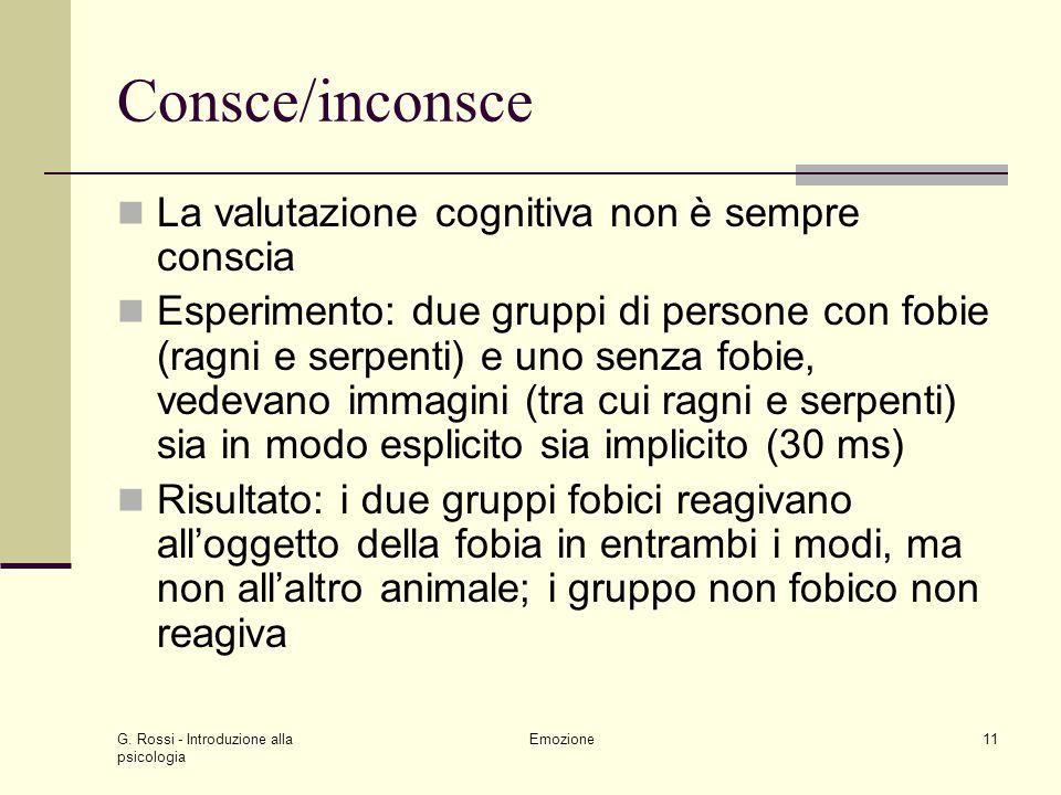 G. Rossi - Introduzione alla psicologia Emozione11 Consce/inconsce La valutazione cognitiva non è sempre conscia Esperimento: due gruppi di persone co