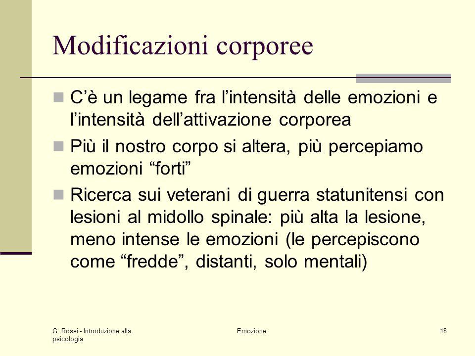 G. Rossi - Introduzione alla psicologia Emozione18 Modificazioni corporee Cè un legame fra lintensità delle emozioni e lintensità dellattivazione corp