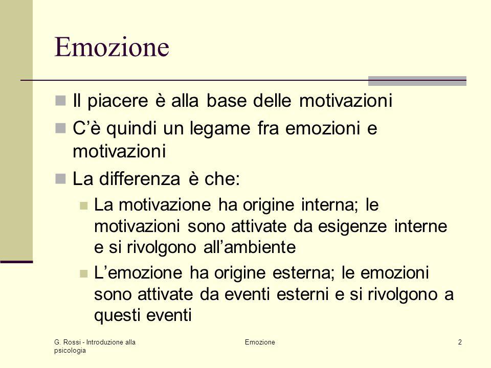 G. Rossi - Introduzione alla psicologia Emozione2 Il piacere è alla base delle motivazioni Cè quindi un legame fra emozioni e motivazioni La differenz
