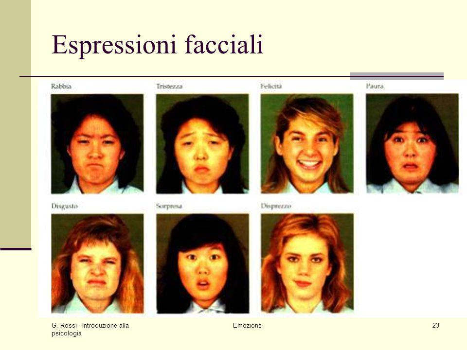 G. Rossi - Introduzione alla psicologia Emozione23 Espressioni facciali